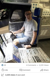 Pete in a space shuttle from LinkedIn post showing number of views