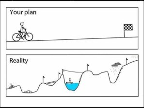 Plan vs Reality. Plan is a straight line to finish. Reality is a whole series of challenges, with lots of falls as well as rises.